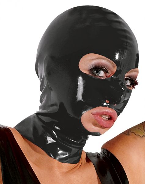 Cappuccio in latex Nero Bondage