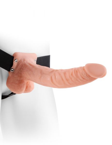 """9"""" Hollow Strap-on with Balls Light"""